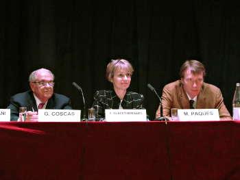 Gabriel COSCAS, Agnès GLACET-BERNARD et Michel PAQUES lors de la présentation de ce rapport à la Société d'Ophtalmologie de Paris
